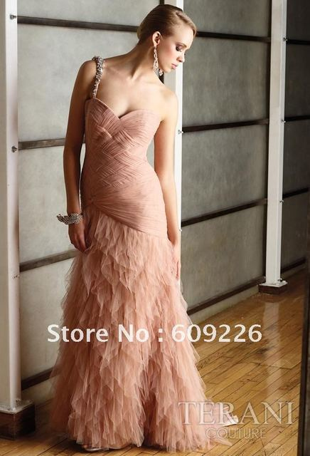 Fashion ! Long One Shoulder Tulles Evening Dress Fashion 2012 , Formal Dress with Criss-cross Bodice