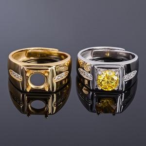 Image 1 - MeiBaPJ 7mm Natürliche Citrine Runde Edelstein Mode Ring/Leere Unterstützung für Männer Echt 925 Sterling Silber Feine Charme schmuck