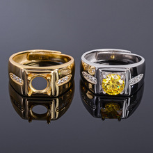 MeiBaPJ 7mm Natural Citrine Round Gemstone Fashion Ring /Empty Support for Men Real 925 Sterling Silver Fine Charm Jewelry
