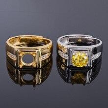 MeiBaPJ 7mm naturalny cytryn okrągły klejnot moda pierścień/puste wsparcie dla mężczyzn prawdziwe 925 Sterling Silver piękny urok biżuteria