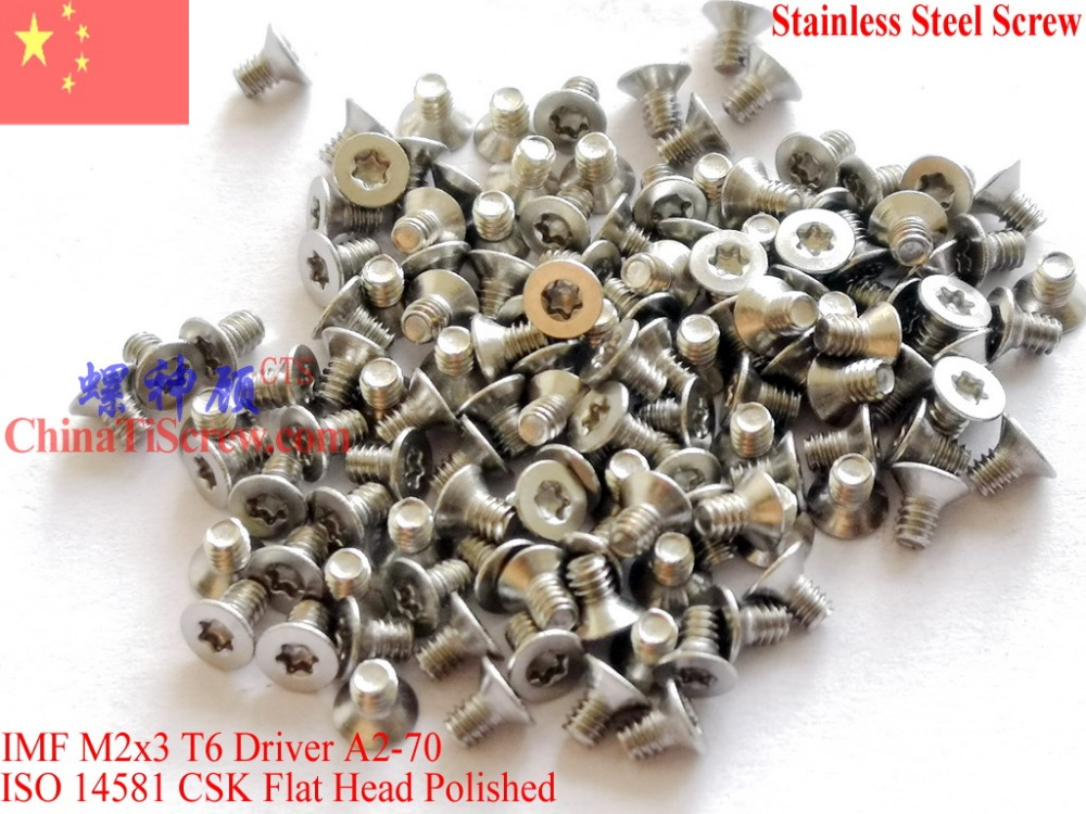 Stainless Steel Screws M2x3  ISO 14581 Flat Head Torx T6 Drive A2-70 Polished 100 pcs ROHS