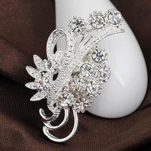 Women Fashion Accessories Elegant Delicate Rhinestone Silver Plated Flower Brooches Collar Pins Sweater Decoration