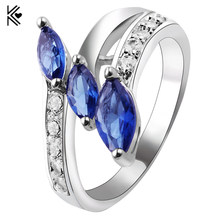 Charm Three Rhombic Zircon Blue/Green Fire Opal Rings For Women Vintage Fashion White Gold Filled Birthstone Ring Trinkets Gifts(China)
