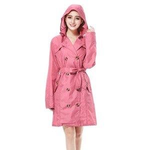 Image 3 - Новинка, модный брендовый Модный женский тонкий пончо FreeSmily большого размера, женский водонепроницаемый длинный тонкий дождевик, дождевик для взрослых с поясом