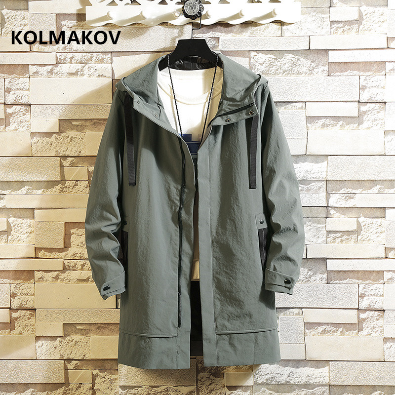 Spring and Autumn Men's fashion   trench   Coat Man Hooded coats Slim fit Casual Windbreakers Mens High Quality Overcoat Men