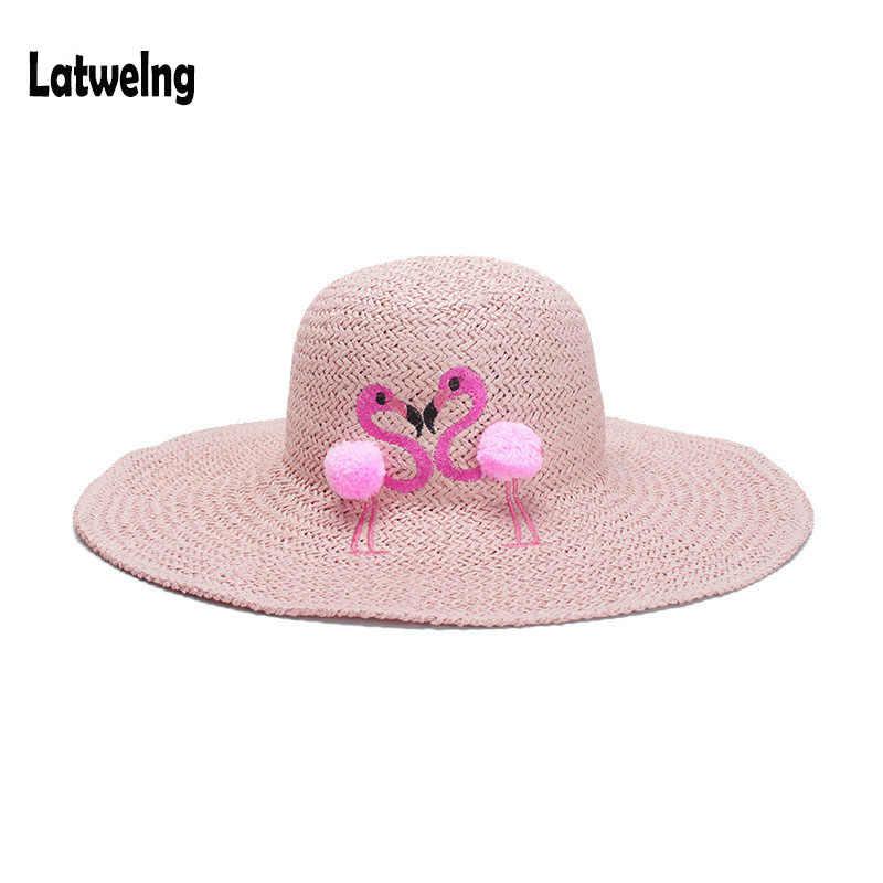 03efe3b31be936 2018 New Women Straw Sun Hats Kids Panama Hat Beach Hat Handmade Raffia  Cartoon Flamingos Embroidery
