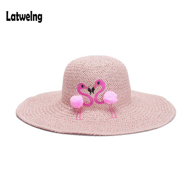 69461445a6113 2018 New Women Straw Sun Hats Kids Panama Hat Beach Hat Handmade Raffia  Cartoon Flamingos Embroidery