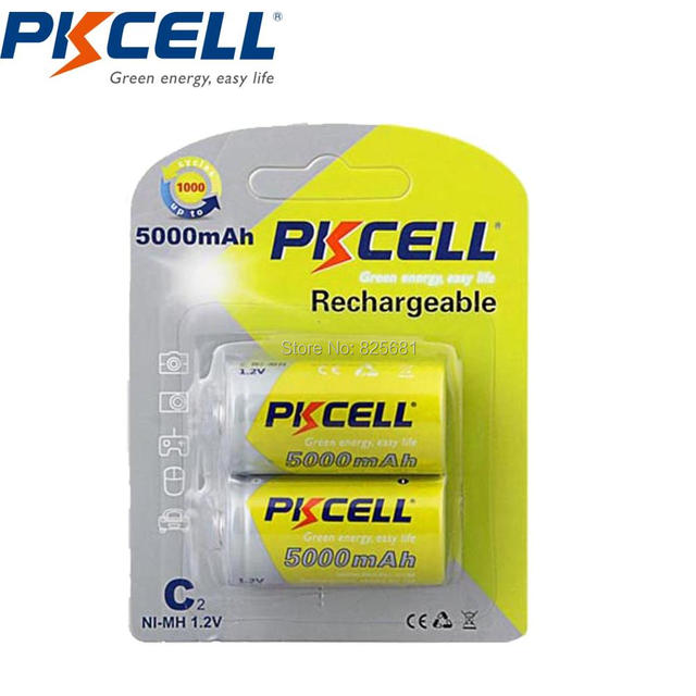 C Size  5000mAh 1.2V High Capacity& New Rechargeable NI-MH  Battery  in 6Pcs/3 Blister cards  -PKCELL