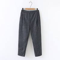 plus size XL 4XL women OL harem pants plaid sweet pockets casual trousers pantalones