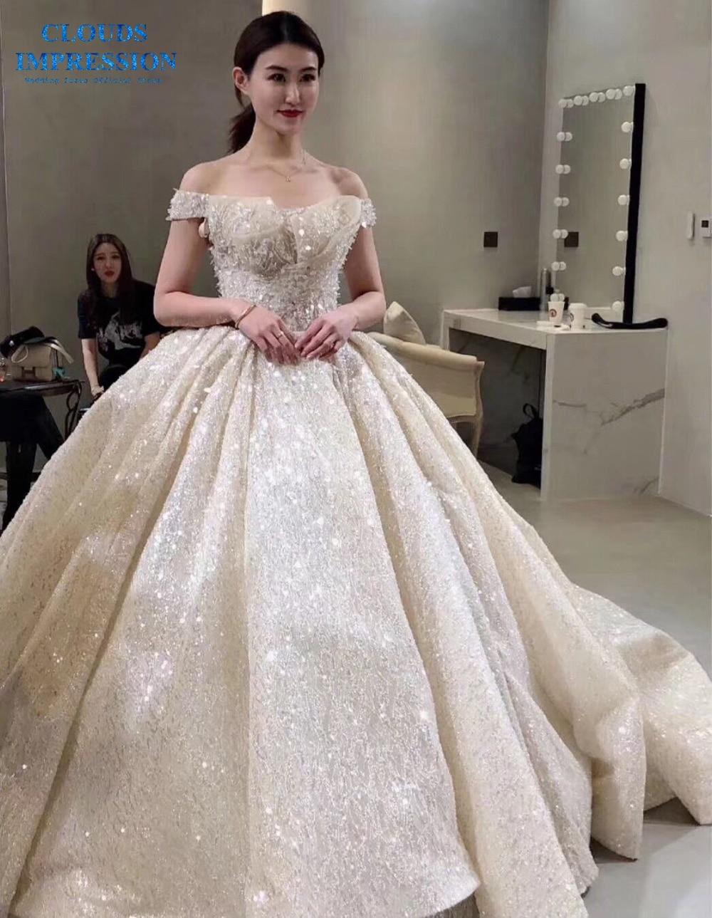 Luxury Ball Gown Wedding Dress 2019 Boat Neck Lace Gorgeous Beading Bridal Gowns Vestige De Noiva Royal Train