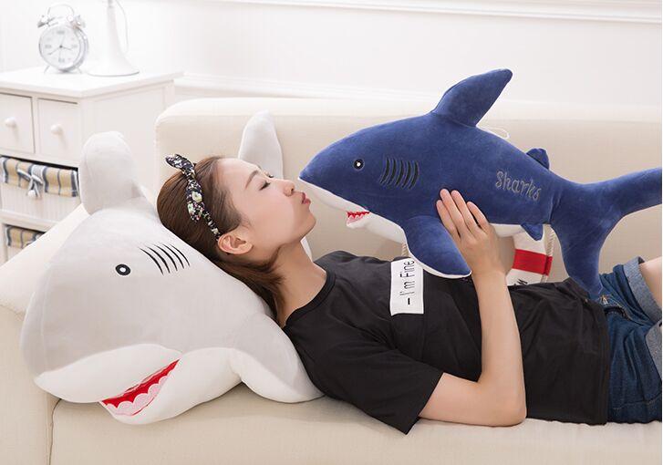 stuffed toy large 80cm dark blue shark plush toy soft throw pillow birthday gift w0238 napapijri guji check dark blue