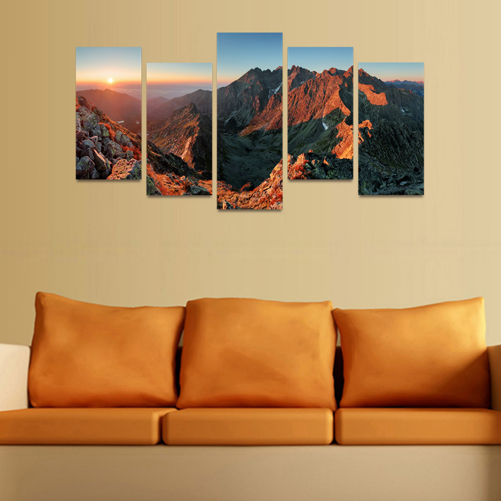 HD Picture Canvas Sunrise On Dark Brown Earth Mountain Picture Gift ...