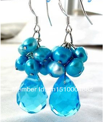 shitou 0028 Blue Baroque Pearl Drip Faceted Blue Crystal Earrings 925 Silver Hook
