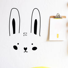 Cute Bunny Face Cartoon Vinyl Wall Decal Decorative Sticker for Nursery Kids Room Decor(China)