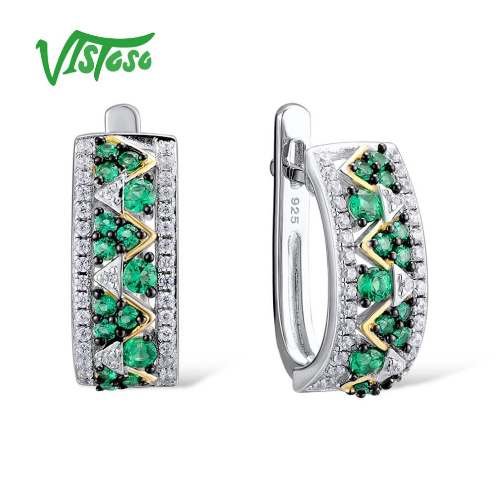 VISTOSO 925 Round Green Spinel Sterling Silver Stud Earrings Jewelry Round White Cubic Zircon Luxury Ear Stud Earrings For Women pair of stylish rhinestone triangle stud earrings for women