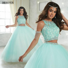 Ball Gown Quinceanera Dresses 2019 Two Pieces Sweet 16 Aqua Appliqued Top Tulle vestido de 15 Girl anos robe bal doce