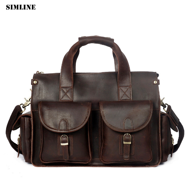 Vintage Casual Business Genuine Crazy Horse leather Cowhide Men Men's Handbag Handbags Shoulder Messenger Bag Bags Briefcase Man padieoe men s genuine leather briefcase famous brand business cowhide leather men messenger bag casual handbags shoulder bags