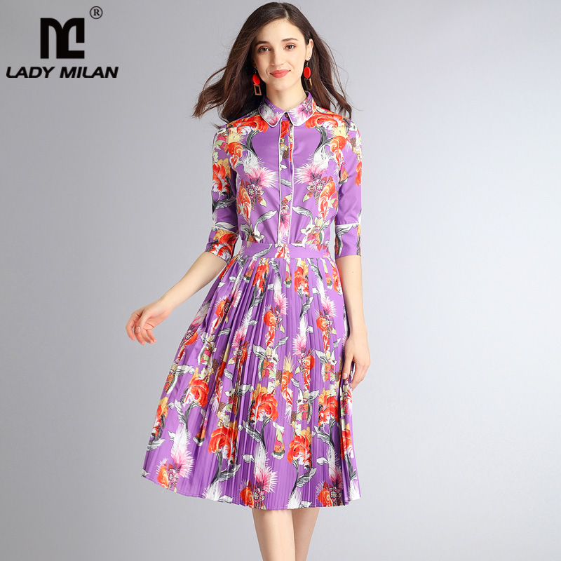 2018 Womens Peter Pan Collar 3/4 Sleeves Printed Shirt with Pleated A Line Skirts Fashion Two Piece Dresses Sets