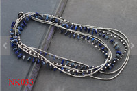 Lapis lazuli Dài Bọc Bạc Vòng Cổ handmade với cord wax dệt hạt bạc thái và Lapis vòng cổ cho phụ nữ 2016
