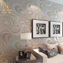 High quality 9.5m*0.53m 3D Embossed Flocking Striped Mural Wallpaper Roll Modern Living room Wall paper papel de parede W329(China)