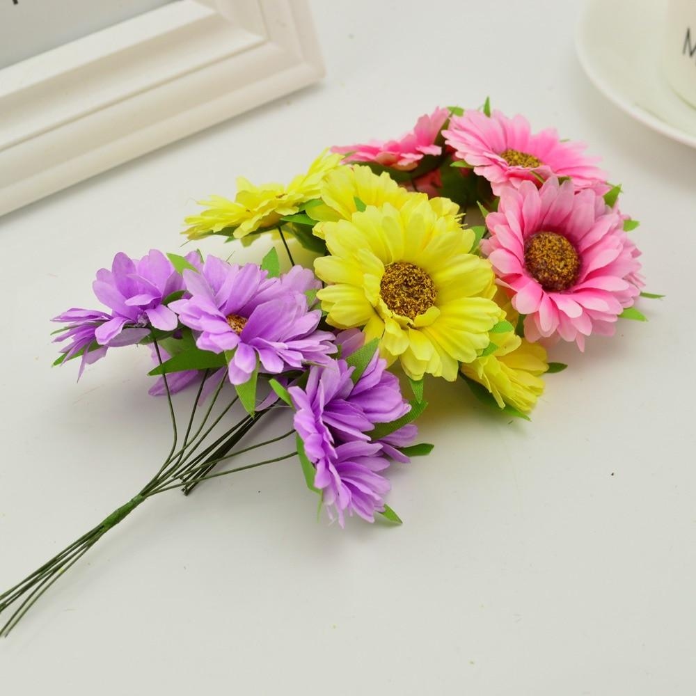 6pcs Handmade Gerbera Fashion Artificial Flowers For Indoor Decoration 4