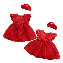 Summer Girls Dresses Newborn Flowers Lace Tutu Pure Princess Dresses+Hairbands Two Piece Children's Clothing