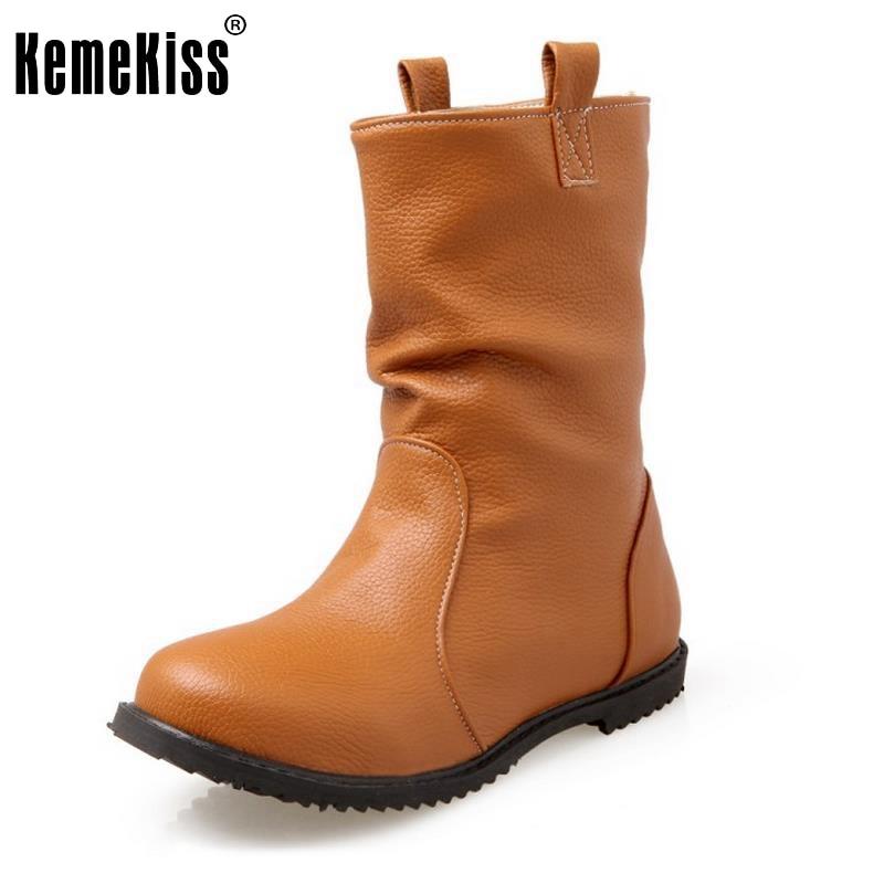 d64cf987f Mulheres Conforto Lazer Meados de Bezerro Botas Dedo Do Pé Redondo Mulher  Meia Curta Botines Mujer Novo Calçado de Alta Qualidade Sapatos Tamanho  30-52