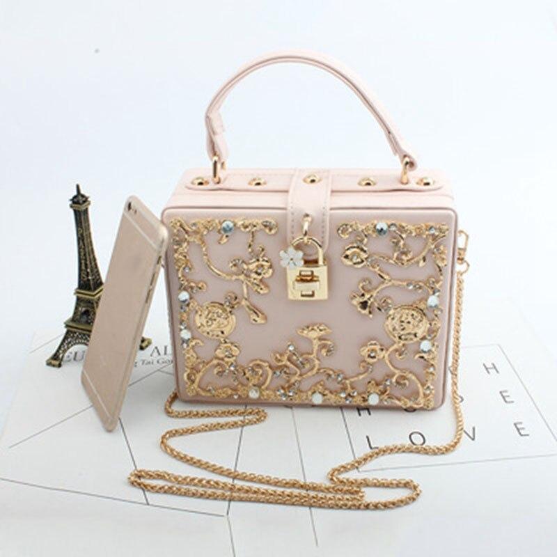 Diamant sac à main 2019 nouveau simple creux sculpté diamant sac en cuir synthétique polyuréthane rétro petite boîte banquet sac à main épaule Messenger sac