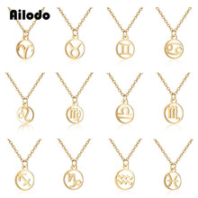 Ailodo 12 Zodiac Constellations Pendant Necklace Personalized Stainless Steel Leo Libra Women Long Chain Jewelry LD220