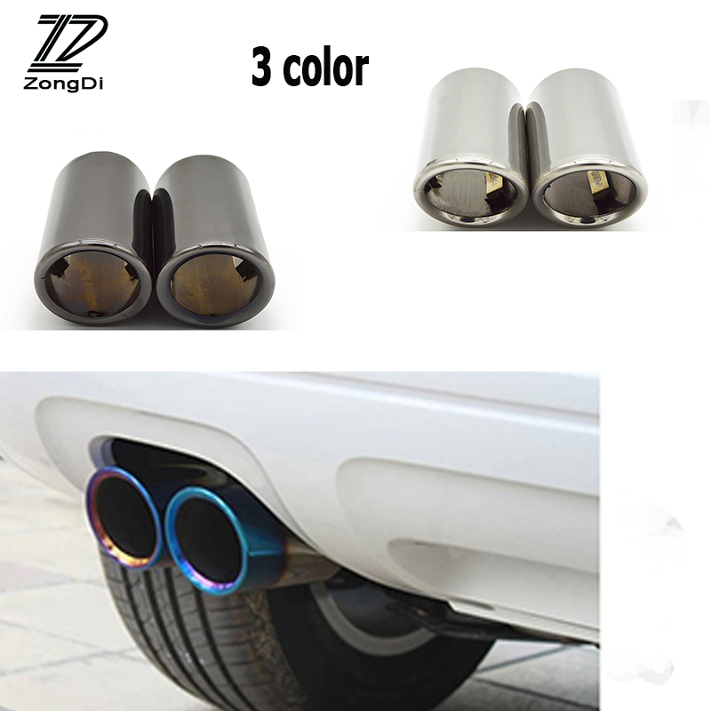 ZD 2PCS Car-styling For Volkswagen VW Tiguan Tiguan 2017 2016 2010 2011 2012 2013 2014 2015 Car Exhaust Tip Muffler Pipe Covers stainless steel front bonnet machine cover molding trim 1pcs fit for vw volkswagen tiguan 2010 2011 2012 2013 2014 2015 2016