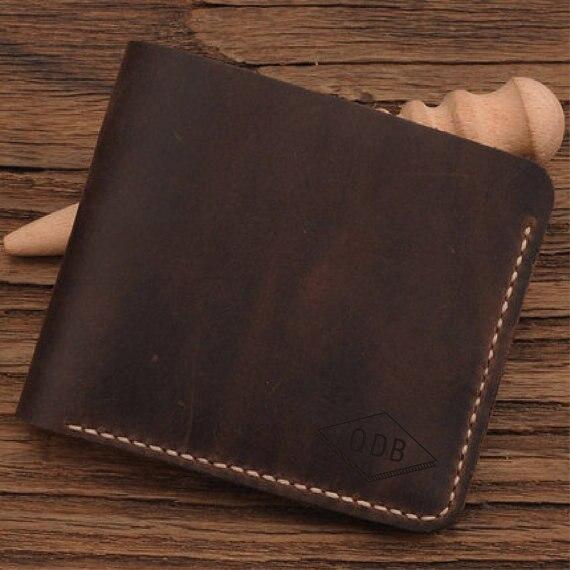 design di qualità cf83b 38064 US $17.75 15% di SCONTO|Portafoglio In Pelle da uomo/Personalizzato  Raccoglitore di Cuoio/Pelle Fatti A Mano Portafoglio/regalo per lui/regalo  per ...