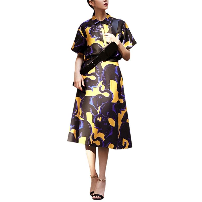 여성 스커트와 함께 설정 두 조각 세트 코끼리 인쇄 짧은 소매 플러스 크기 블라우스 숙녀 셔츠 + 무릎 길이 라인 스커트-에서여성 세트부터 여성 의류 의  그룹 1