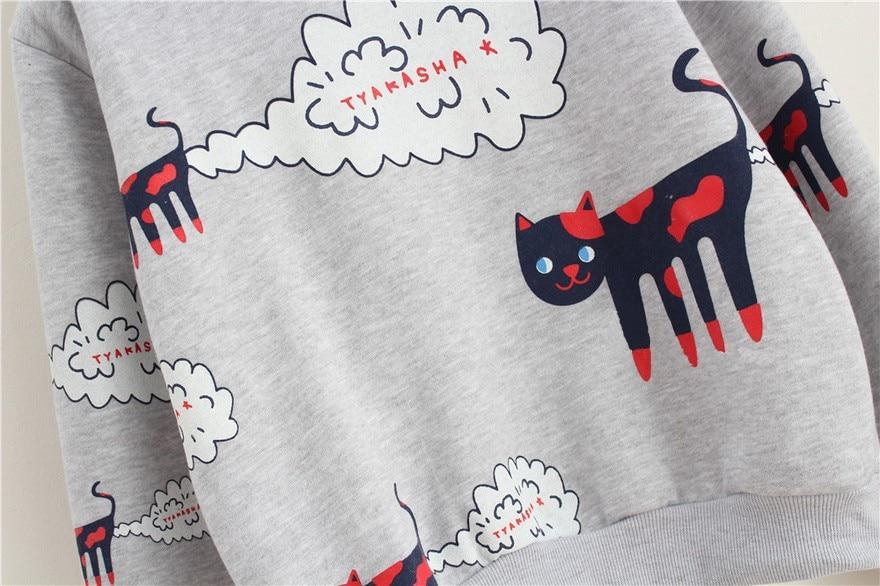 17 New Spring Autumn Sweatshirt Women Tops Plus Size Loose Casual Plus Thick Velvet Cartoon Cat Pattern Sweatshirts Pullovers 18