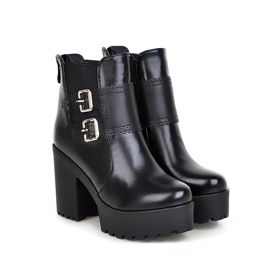 2018 Black Red Comfortable PU Zip Women boots Square heels High heels Ankle Shoes woman