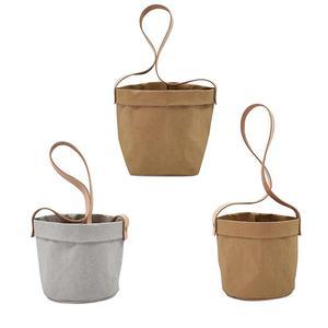 Image 1 - Mini Succulents Planter Pot Washable Kraft Paper Flowerpot Kraft Paper Hanging Flower Pots With Leather Hand Strap Hanging Pot