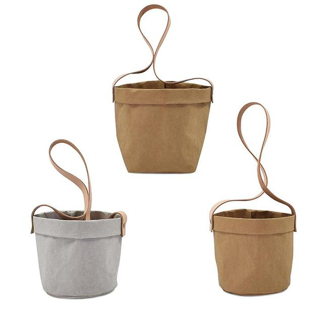 Mini Succulents Planter Pot Washable Kraft Paper Flowerpot Kraft Paper Hanging Flower Pots With Leather Hand Strap Hanging Pot