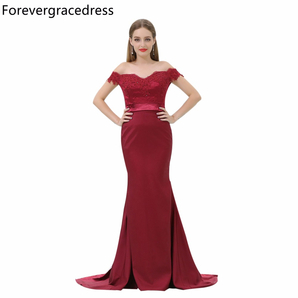 Forevergracedress Cheap Burgundy Bridesmaid Dress New Arrival Off The Shoulder Long Wedding Party Gown Plus Size Custom Made