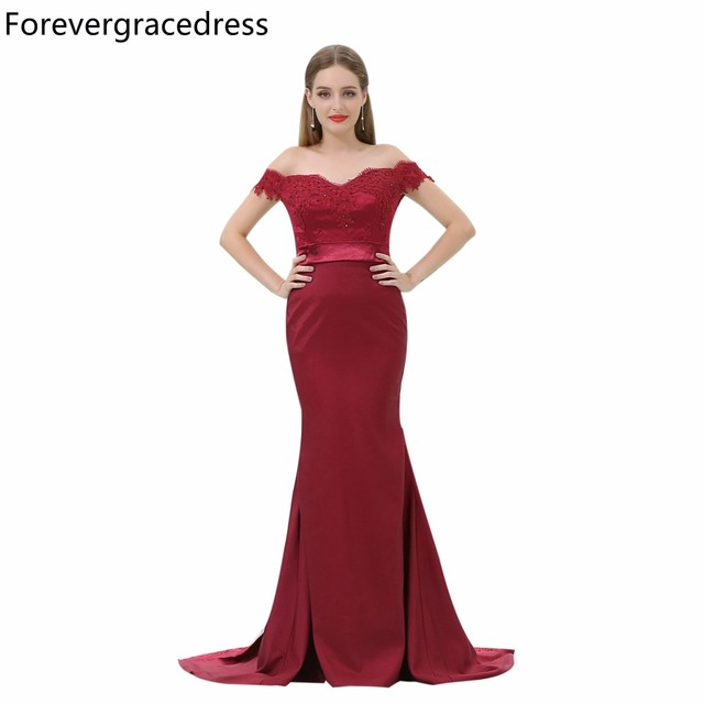 Forevergracedress Cheap Burgundy Bridesmaid Dress New Arrival Off The  Shoulder Long Wedding Party Gown Plus Size Custom Made d076efa65ba2