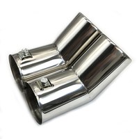 Car Dual Stainless Steel Exhaust Tail Pipes Muffler Tailpipe Tips For VW MK4 Golf Jetta Bora