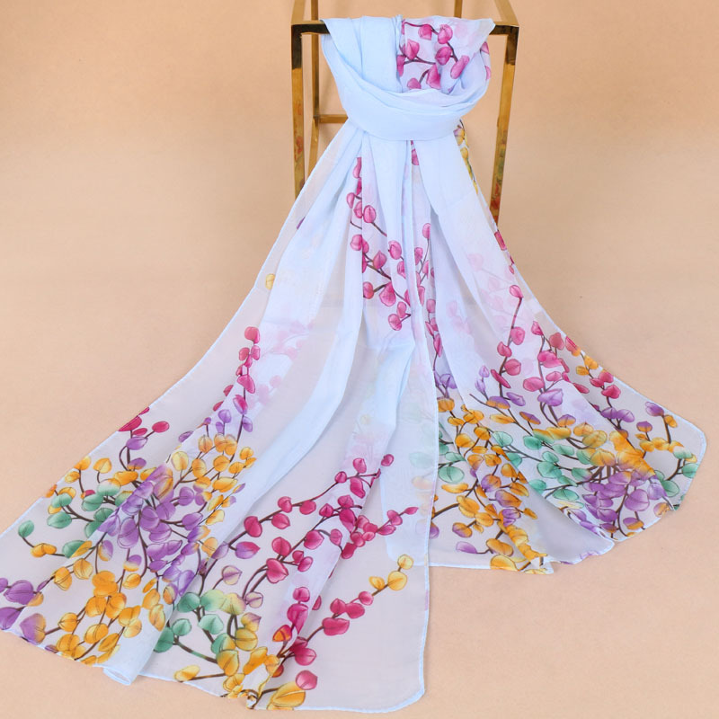 Summer New Arrival Fashion Flowers Chiffon Scarves Stripe Chiffons Georgette Female Silk Scarves