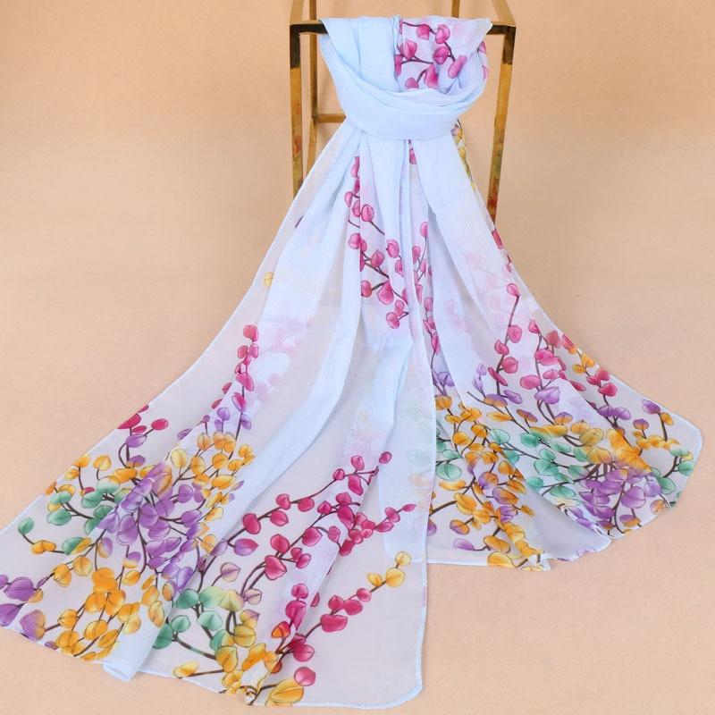 Summer New Arrival Fashion Flowers Chiffon Scarves Stripe Chiffons Georgette Female Silk Scarves