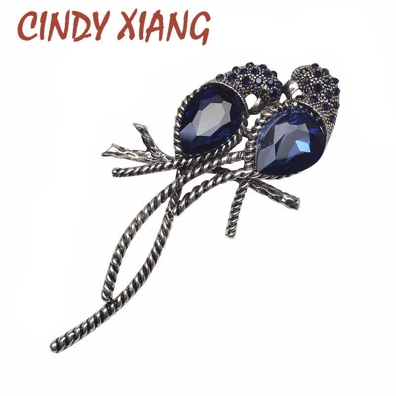 CINDY XIANG Zinc Alloy And Silver Plated For Women Animal Brooches A Pair Of Bird Inlay Shiny Big Blue Crystal For Girls Pins