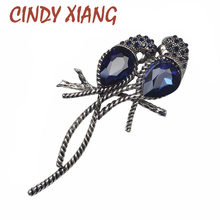 CINDY XIANG Zinc Alloy and Silver Plated for Women Animal Brooches A Pair of Bird Inlay Shiny Big Blue Crystal for Girls Pins(China)