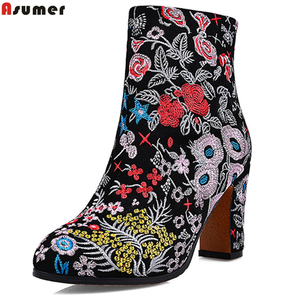 ASUMER fashion new arrive women boots zipper round toe cow suede ladies boots embroider autumn winter ankle boots ethnic style women ankle boots 2016 round toe autumn shoes booties lace up black and white ladies short 2017 flat fashion female new chinese