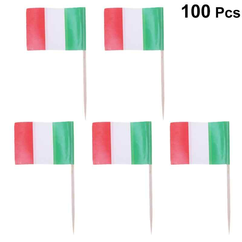100pcs Italy Flag Shape Picks Cake Toppers Decorative Cupcake Muffin Food Fruit Picks Halloween Festival Birthday Party Supplies