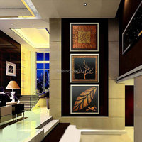 Hand Made Modern Abstract Wall Art Life Black And Brown Tree Leaf Pictures For Living Room