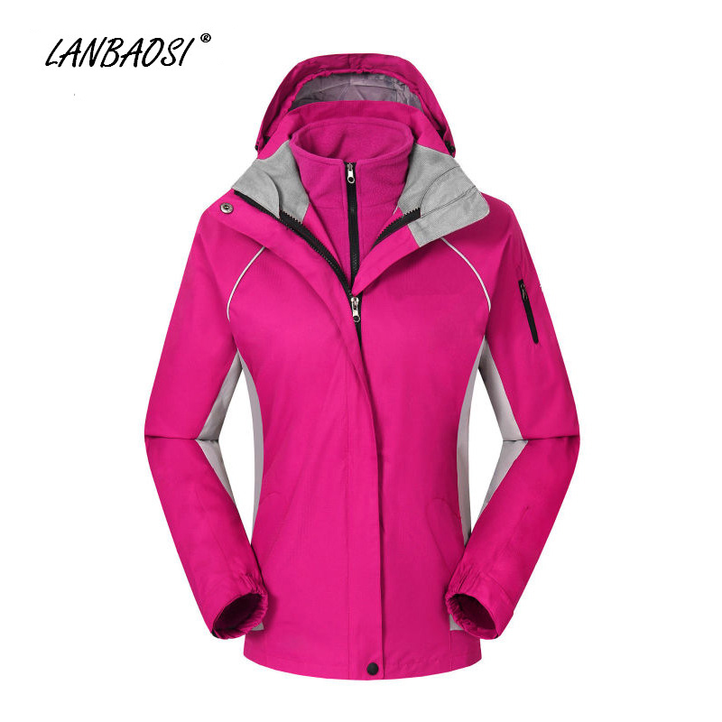 цена LANBAOSI Outdoor Sports Women's 3 in 1 Hiking Hooded Jackets Fleece Liner Windproof Waterproof Snowboard Skiing Camping Climbing