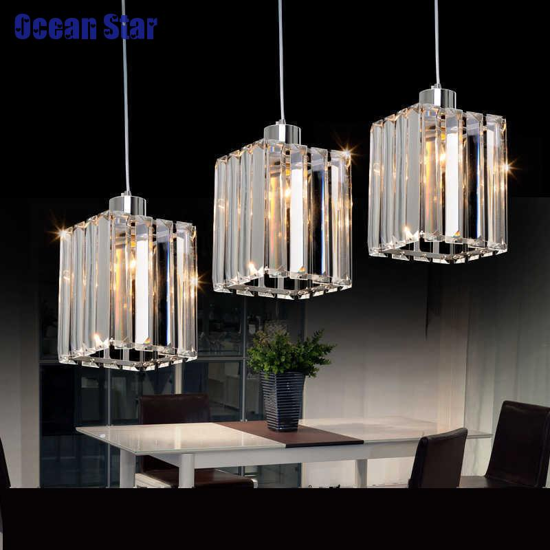 Pendant Lamp Three Lights Crystal Lamps Dining Room Linear Suspension Led Luminaire