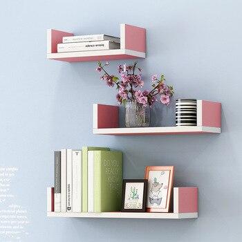 цена Creative Bookshelf 3pcs Wall-mounted Storage Rack Bedroom Living Room Furniture Bookcase Potted Stand онлайн в 2017 году