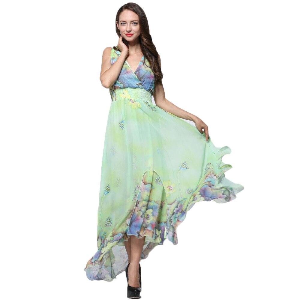 0e8a80ebc الشيفون ماكسي اللباس الأنيق زائد الحجم فساتين طويلة لشاطئ vestidos 2016  الصيف الزهور كبيرة الحجم أكمام المرأة ماكسي اللباس 6xl